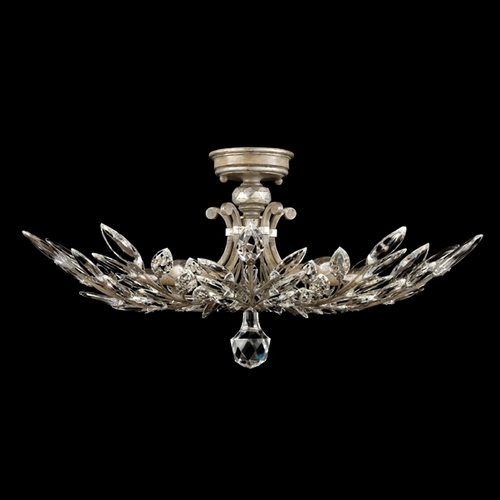 Fine Art Lamps Fine Art Lamps Crystal Laurel Antiqued Warm Silver Leaf Semi-Flushmount Light 753440ST