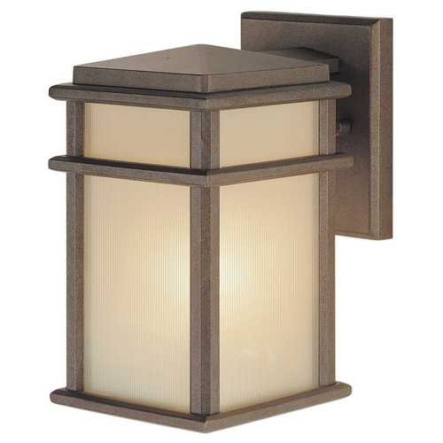 Feiss Lighting Outdoor Wall Light with Amber Glass in Corinthian Bronze Finish OL3400CB