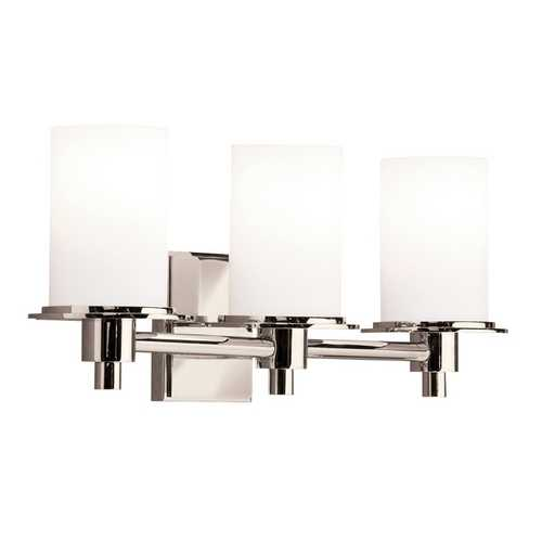 Kichler Lighting Kichler Polished Nickel Modern Bathroom Light with White Glass 5438PN