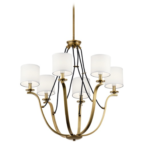 Kichler Lighting Thisbe 6-Light Natural Brass Chandelier with White Linen Fabric Shade 43532NBR