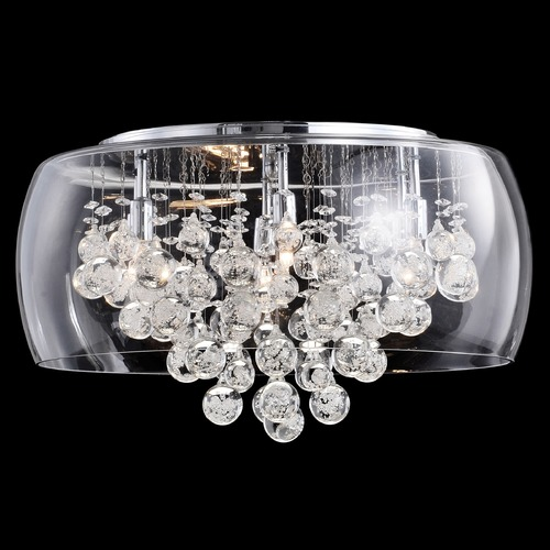 Matteo Lighting Matteo Lighting Glass-Encased Bubble Droplet Chrome Flushmount Light M31006