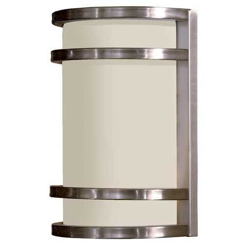 Minka Lavery Modern Outdoor Wall Light with White Glass in Stainless Steel Finish 9801-144