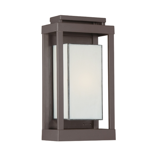 Quoizel Lighting Outdoor Wall Light with Art Glass in Western Bronze Finish PWL8307WT
