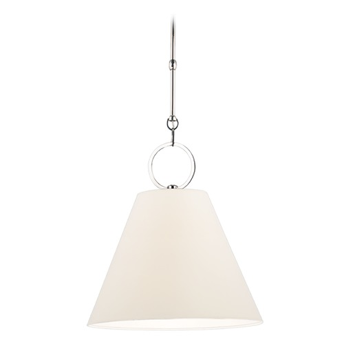 Hudson Valley Lighting Modern Pendant Light with White Paper Shade in Polished Nickel Finish 5612-PN