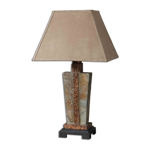 Uttermost Lighting Table Lamp in Handcarved Slate / Hammered Copper Finish 26322-1