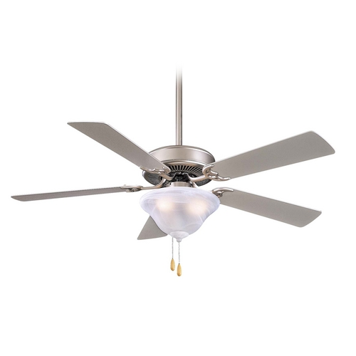 Minka Aire Ceiling Fan with Light with White Glass in Brushed Steel Finish F548-BS