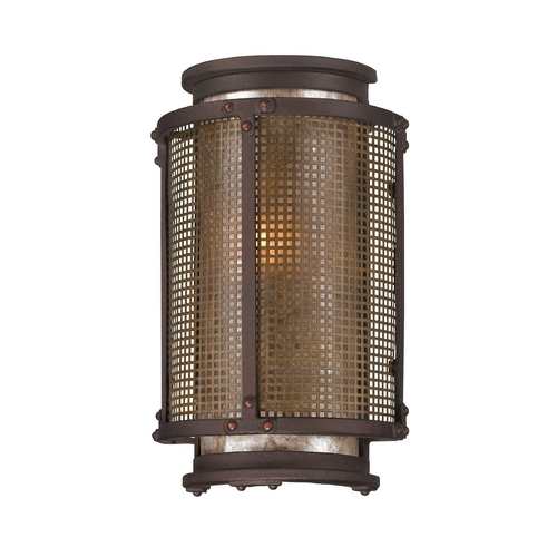 Troy Lighting Outdoor Wall Light with Grey Mica Shade in Centennial Rust Finish B3271