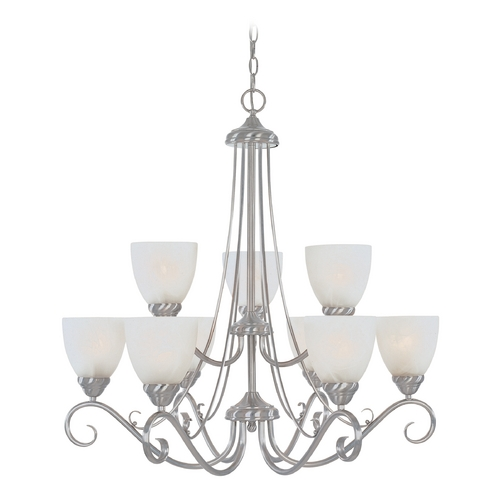 Designers Fountain Lighting Chandelier with Alabaster Glass in Satin Platinum Finish 98089-SP