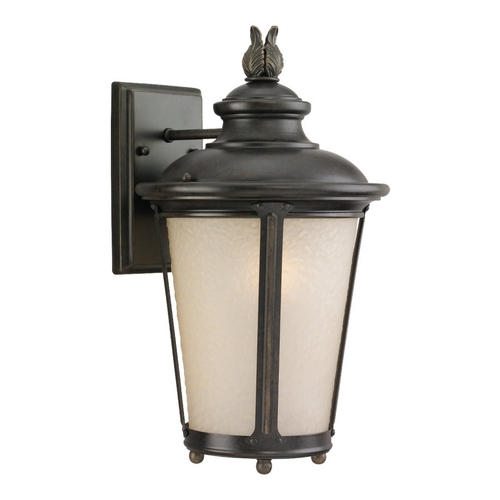 Sea Gull Lighting Outdoor Wall Light with Amber Glass in Burled Iron Finish 88241-780