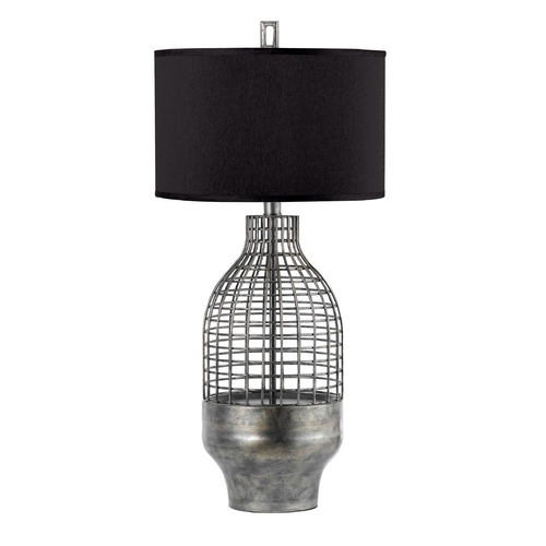 AF Lighting Table Lamp with Black Shade in Antique Pewter Finish 8270-TL