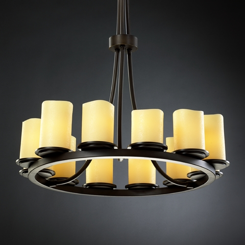 Justice Design Group Justice Design Candlearia 12-Light Chandelier in Dark Bronze CNDL-8763-14-AMBR-DBRZ