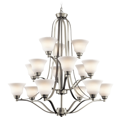 Kichler Lighting Kichler Chandelier with White Glass in Brushed Nickel Finish 1789NI
