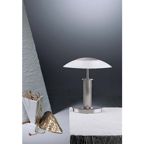 Holtkoetter Lighting Holtkoetter Modern Table Lamp with White Glass in Satin Nickel Finish 6244 SN SW