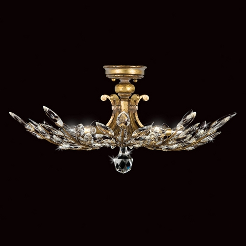 Fine Art Lamps Fine Art Lamps Crystal Laurel Gold Leaf Semi-Flushmount Light 776240ST