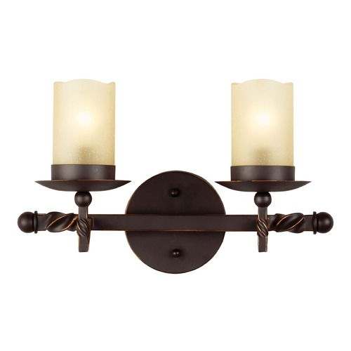 Sea Gull Lighting Champagne Seeded Glass Bathroom Light Bronze Sea Gull Lighting 4410602-191