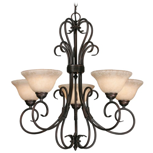 Golden Lighting Golden Lighting Homestead Rubbed Bronze Chandelier 8606-5 RBZ-TEA