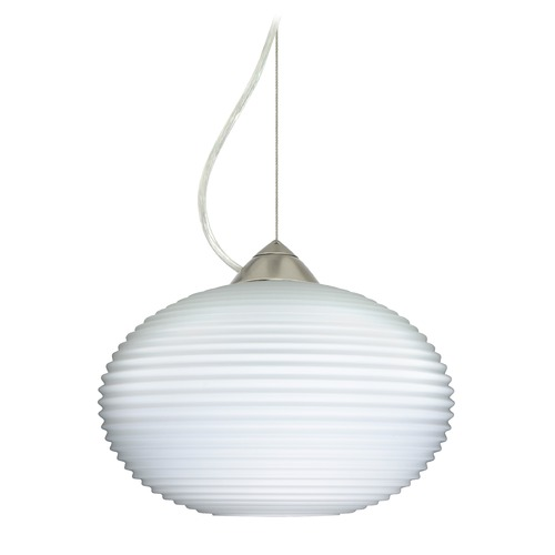 Besa Lighting Besa Lighting Pape Satin Nickel LED Pendant Light with Globe Shade 1KX-491307-LED-SN