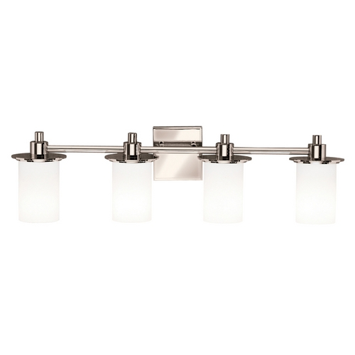 Kichler Lighting Kichler Polished Nickel Modern Bathroom Light with White Glass 5439PN