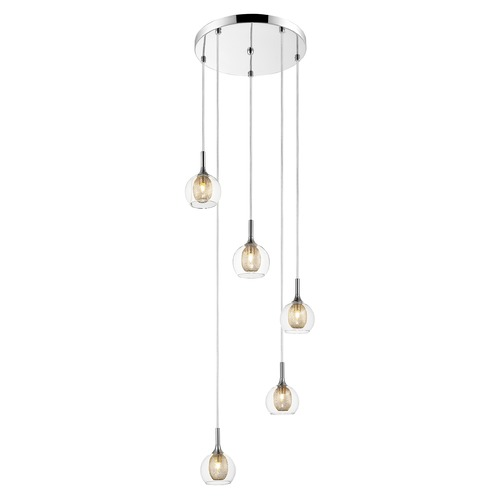 Z-Lite Z-Lite Auge Chrome Multi-Light Pendant with Bowl / Dome Shade 905-5