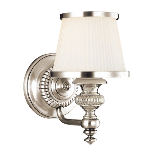 Hudson Valley Lighting Sconce with White Glass in Polished Nickel Finish 2001-PN