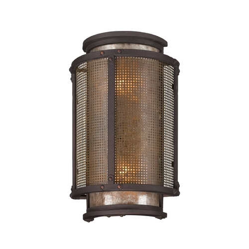 Troy Lighting Outdoor Wall Light with Grey Mica Shades in Centennial Rust Finish B3272