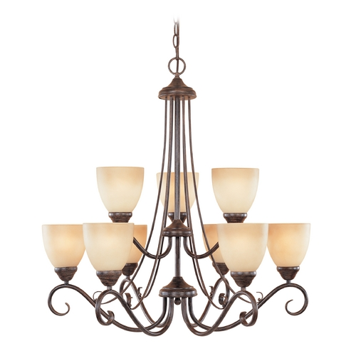 Designers Fountain Lighting Chandelier with Amber Glass in Warm Mahogany Finish 98089-WM
