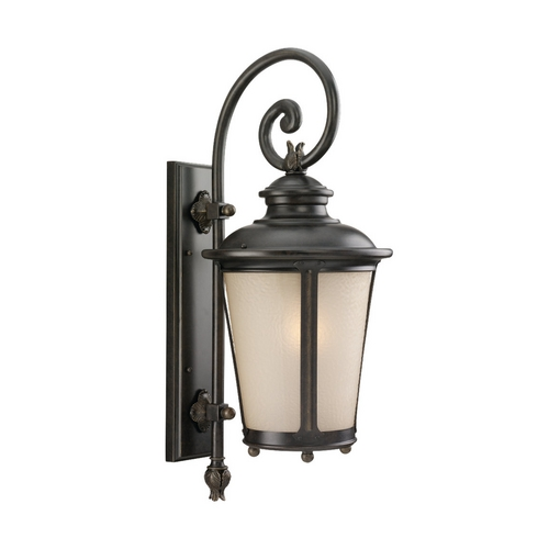 Sea Gull Lighting Outdoor Wall Light with Amber Glass in Burled Iron Finish 88242-780