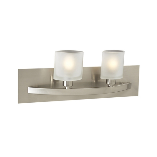 PLC Lighting Modern Bathroom Light with White Glass in Satin Nickel Finish 642 SN