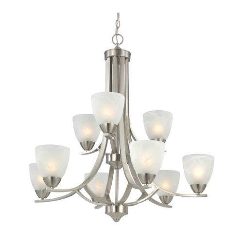 Design Classics Lighting Modern 2-Tier 9-Light Chandelier in Satin Nickel 223-09