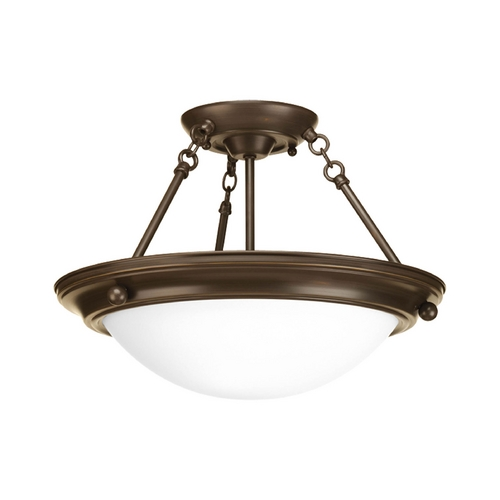 Progress Lighting Semi-Flushmount Light with White Glass in Antique Bronze Finish P3483-20