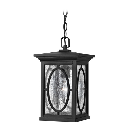 Hinkley Seeded Glass Outdoor Hanging Light Black Hinkley 1492BK