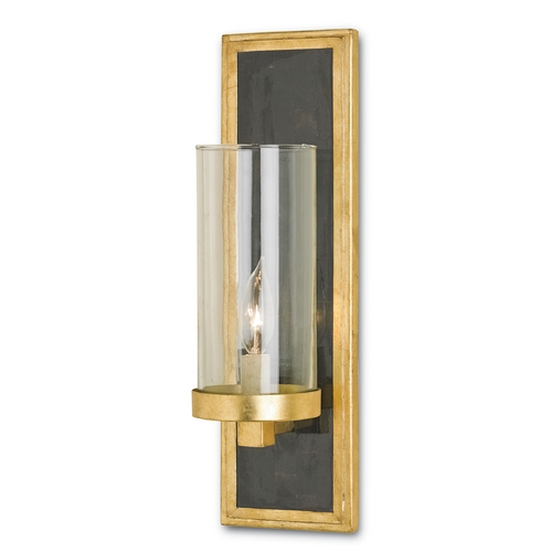 Currey and Company Lighting Currey and Company Lighting Gold Leaf / Black Penshell Crackle Sconce 5140