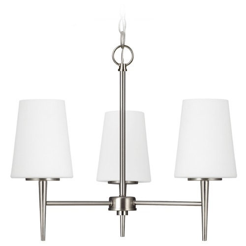 Sea Gull Lighting Mid-Century Modern Mini-Chandelier Brushed Nickel Driscoll by Sea Gull Lighting 3140403-962