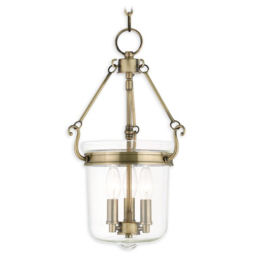 Livex Lighting Livex Lighting Rockford Antique Brass Pendant Light with Bowl / Dome Shade 50482-01