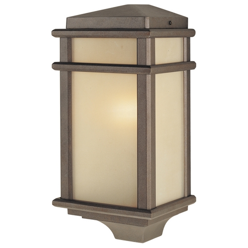 Feiss Lighting Outdoor Wall Light with Amber Glass in Corinthian Bronze Finish OL3403CB