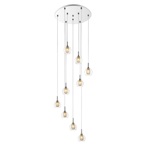 Z-Lite Z-Lite Auge Chrome Multi-Light Pendant with Bowl / Dome Shade 905-9