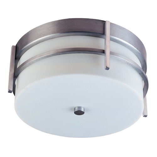 Maxim Lighting Modern Close To Ceiling Light with White Glass in Brushed Metal Finish 85217WTBM