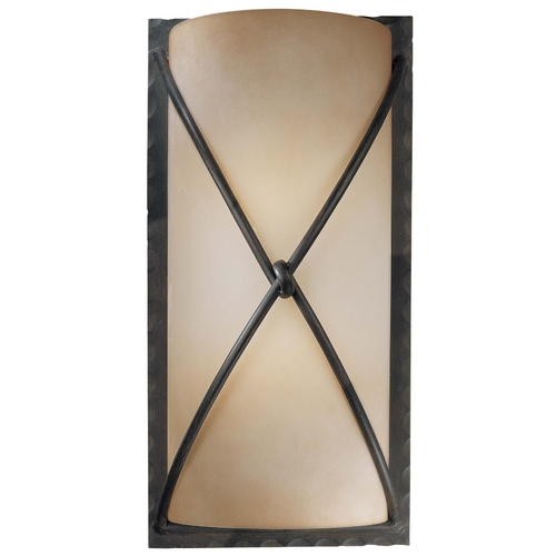 Minka Lavery Sconce Wall Light with Beige / Cream Glass in Aspen Bronze Finish 1975-1-138