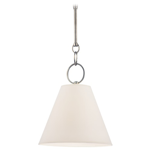 Hudson Valley Lighting Modern Pendant Light with White Paper Shade in Historic Nickel Finish 5615-HN