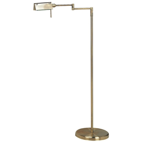 Lite Source Lighting Modern Swing Arm Lamp with White Shades in Antique Brass Finish LS-960AB