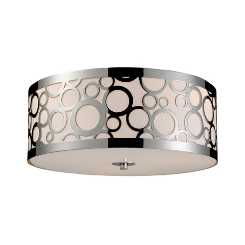 Elk Lighting Modern Flushmount Light with White Glass in Polished Nickel Finish 31024/3