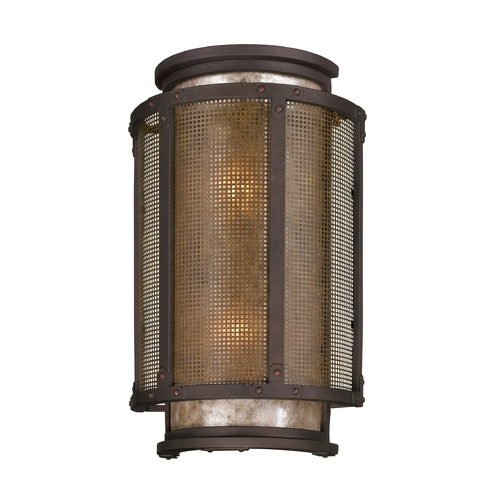 Troy Lighting Outdoor Wall Light with Grey Mica Shades in Centennial Rust Finish B3273