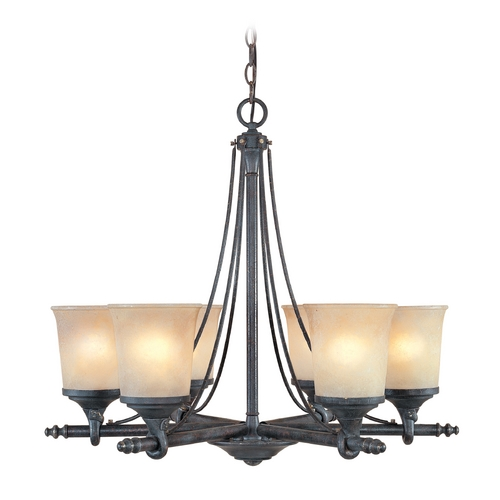Designers Fountain Lighting Chandelier with Beige / Cream Glass in Weathered Saddle Finish 97386-WSD