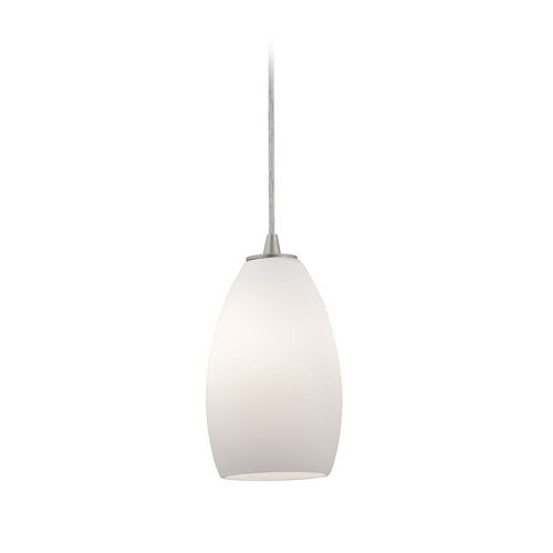 Access Lighting Modern Mini-Pendant Light with White Glass 28012-2C-BS/OPL