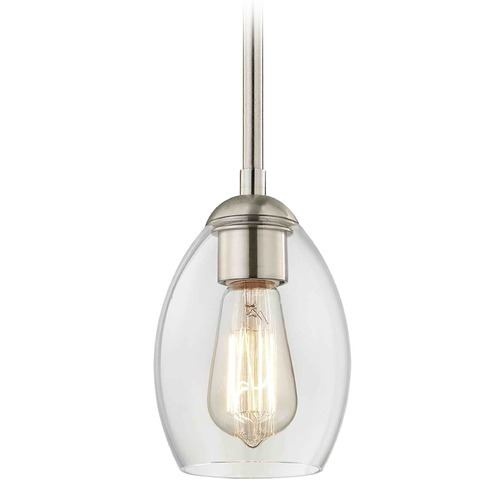 Design Classics Lighting Satin Nickel Mini-Pendant Light with Oblong Shade 581-09 GL1034-CLR