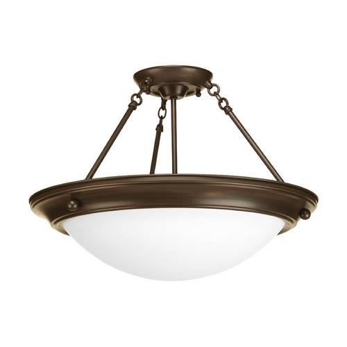 Progress Lighting Semi-Flushmount Light with White Glass in Antique Bronze Finish P3484-20