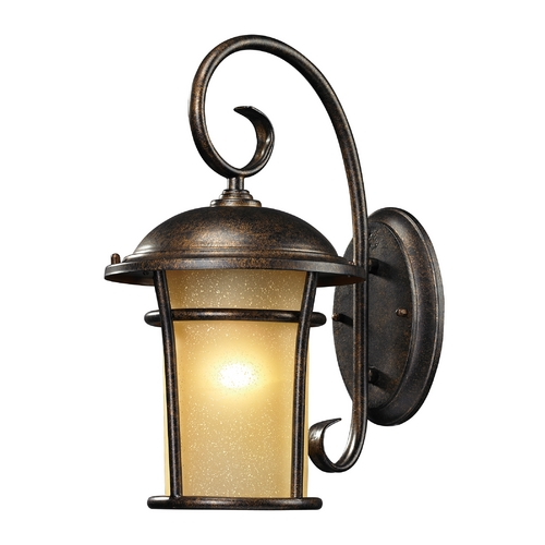 Elk Lighting Outdoor Wall Light with Amber Glass in Regal Bronze Finish 45036/1