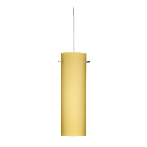 Besa Lighting Besa Lighting Copa Satin Nickel Mini-Pendant Light with Cylindrical Shade 1XT-4930VM-SN