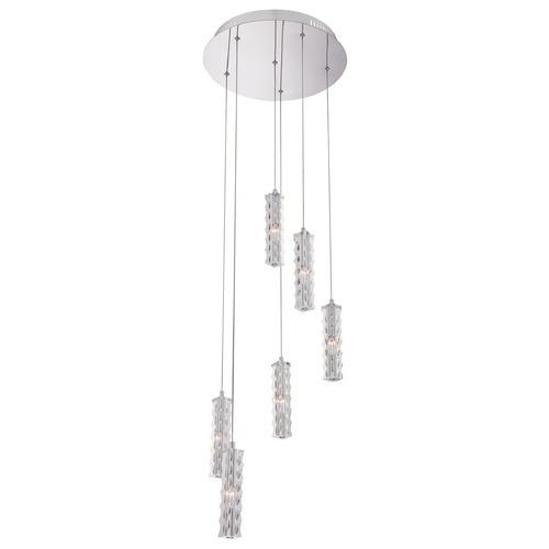 Quoizel Lighting Quoizel Platinum Collection Taper Polished Chrome Multi-Light Pendant with Cylindrical Shad PCTR1816C