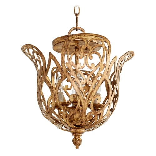 Quorum Lighting Quorum Lighting Le Monde Aged Silver Leaf Pendant Light 2192-4-60